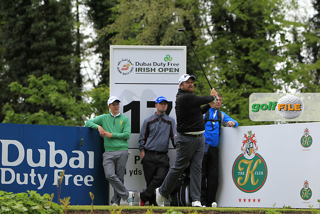 Colm Campbell Jnr. (AM-IRL) and John-Ross Galbraith (AM-IRL) with Shane Lowry (IRL) on the 17th tee during Tuesday's Practice round of the Dubai Duty Free Irish Open Trophy at The K Club, Straffan, Co. Kildare<br /> Picture: Golffile | Thos Caffrey<br /> <br /> All photo usage must carry mandatory copyright credit <br /> (&copy; Golffile | Thos Caffrey)