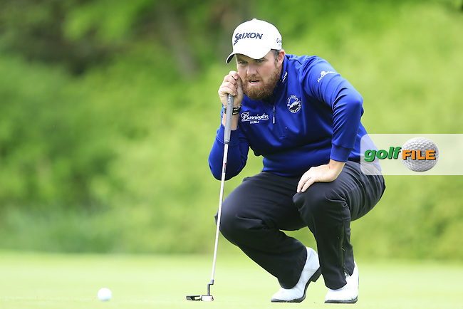 Shane Lowry (IRL) on the 17th green during Thursday's Round 1 of the 2016 Dubai Duty Free Irish Open hosted by Rory Foundation held at the K Club, Straffan, Co.Kildare, Ireland. 19th May 2016.<br /> Picture: Eoin Clarke | Golffile<br /> <br /> <br /> All photos usage must carry mandatory copyright credit (&copy; Golffile | Eoin Clarke)