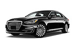 Stock pictures of low aggressive front three quarter view of 2017 Genesis G90 Ultimate 4 Door Sedan Low Aggressive