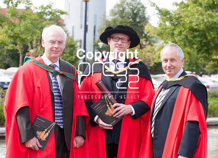 L-R Cathal Heavey, Ivor Lanning and Seamus Gordon at the University of Limerick today. Picture: Arthur Ellis/Press 22
