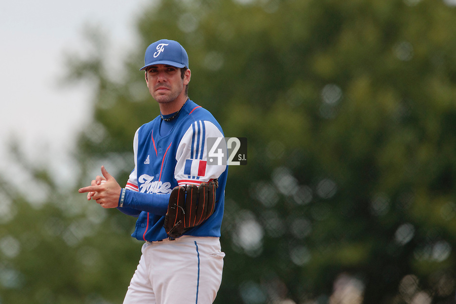 30 july 2010: Pierrick Le Mestre of France pitches against Italy during Italy 9-2 win over France, in day 6 of the 2010 European Championship Seniors, at TV Cannstatt ballpark, in Stuttgart, Germany.