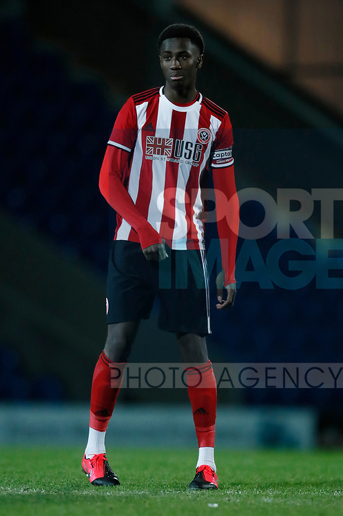 Jean Belehouan of Sheffield Utd during the Professional Development League  match at the Proact Stadium, Chesterfield. Picture date: 3rd February 2020. Picture credit should read: Simon Bellis/Sportimage