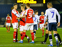 Fleetwood Town's Harrison Biggins congratulates Kyle Dempsey on scoring the first goal<br /> <br /> Photographer Alex Dodd/CameraSport<br /> <br /> The EFL Checkatrade Trophy Group B - Bury v Fleetwood Town - Tuesday 13th November 2018 - Gigg Lane - Bury<br />  <br /> World Copyright &copy; 2018 CameraSport. All rights reserved. 43 Linden Ave. Countesthorpe. Leicester. England. LE8 5PG - Tel: +44 (0) 116 277 4147 - admin@camerasport.com - www.camerasport.com