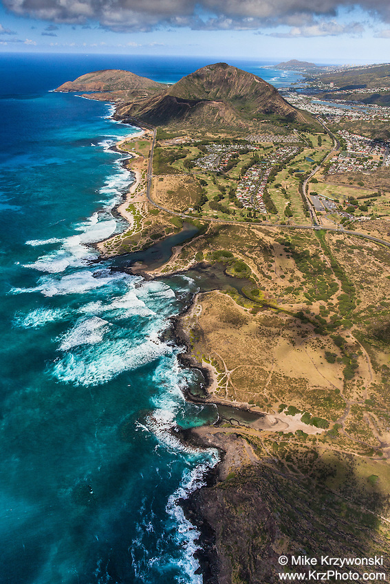 Aerial view of Oahu's southeast coastline