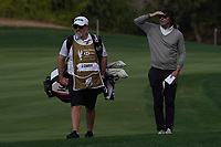 Brian Martin caddy for Shane Lowry (IRL) and Neil Manchip (coach) on the 10th fairway during the Pro-Am of the Abu Dhabi HSBC Championship 2020 at the Abu Dhabi Golf Club, Abu Dhabi, United Arab Emirates. 15/01/2020<br /> Picture: Golffile | Thos Caffrey<br /> <br /> <br /> All photo usage must carry mandatory copyright credit (© Golffile | Thos Caffrey)