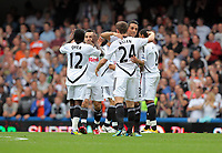 Pictured: (L-R) Nathan Dyer, Leon Britton, Neil Taylor and Joe Allen of Swansea City. Saturday 17 September 2011<br />