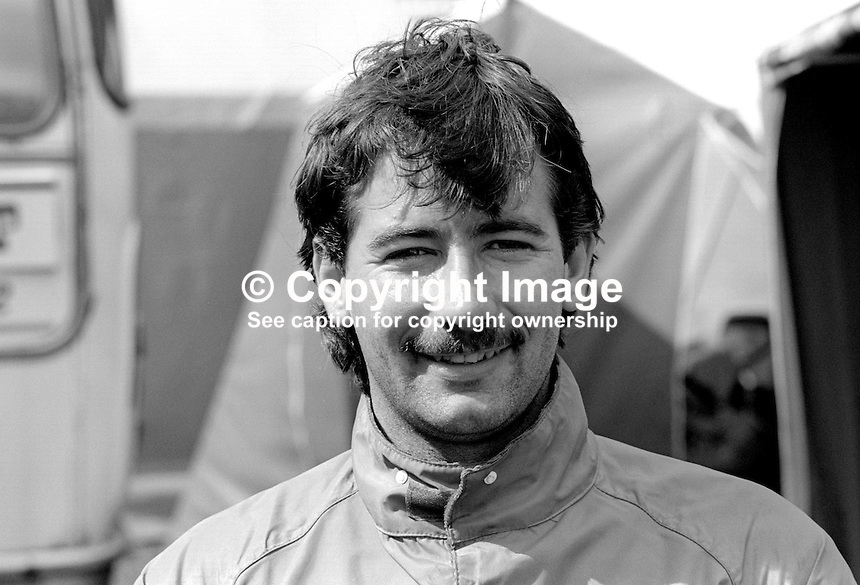 Gene McDonnell, N Ireland, racing motorcyclist, 19850805GMD2<br /> <br /> Copyright Image from Victor Patterson,<br /> 54 Dorchester Park, <br /> Belfast, UK, BT9 6RJ<br /> <br /> t1: +44 28 9066 1296 (from Rep of Ireland 048 9066 1296)<br /> t2: +44 28 9002 2446 (from Rep of Ireland 048 9002 2446)<br /> <br /> m: +44 7802 353836<br /> <br /> e: victorpatterson@me.com<br /> www.victorpatterson.com<br /> <br /> Please see my Terms and Conditions of Use at www.victorpatterson.com. It is IMPORTANT that you familiarise yourself with them.<br /> <br /> Images used on the Internet must be visibly watermarked i.e. &copy; Victor Patterson<br /> within the body of the image and copyright metadata must not be deleted. Images <br /> used on the Internet have a size restriction of 4kbs and will be chargeable at current<br />  NUJ rates unless agreed otherwise.<br /> <br /> This image is only available for the use of the download recipient i.e. television station, newspaper, magazine, book publisher, etc, and must not be passed on to any third <br /> party. It is also downloaded on condition that each and every usage is notified within 7 days to victorpatterson@me.com<br /> <br /> The right of Victor Patterson to be identified as the author is asserted in accordance with The Copyright Designs And Patents Act (1988). All moral rights are asserted.