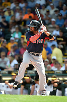 Boston Red Sox outfielder Shane Victorino (18) during a Spring Training game against the Pittsburgh Pirates on March 12, 2015 at McKechnie Field in Bradenton, Florida.  Boston defeated Pittsburgh 5-1.  (Mike Janes/Four Seam Images)