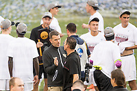 Houston, TX -  Sunday, December 11, 2016: Wake Forest Demon Deacons Head Coach, Bobby Muuss (left) congratulates Stanford Cardinal Head Coach, Jeremy Gunn on his win at the  NCAA Men's Soccer Finals at BBVA Compass Stadium.