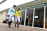 Jockeys Oisin Murphy and Andrea Atzeni  leave the weighing room prior to The Shadwell Dick Poole Fillies' Stakes  during the Bathwick Tyres & EBF Race Day at Salisbury Racecourse on 6th September 2018