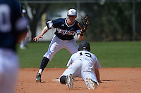 UW-Stout Blue Devils Jack Schneider (10) looks to tag Danny Appino (13) sliding into second during the second game of a doubleheader against the Edgewood Eagles on March 16, 2015 at Lee County Player Development Complex in Fort Myers, Florida.  UW-Stout defeated Edgewood 8-2.  (Mike Janes/Four Seam Images)