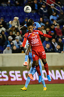 HARRISON, NJ - FEBRUARY 26: Julio Cesar Cruz Gonzalez #77 of AD San Carlos during a game between AD San Carlos and NYCFC at Red Bull on February 26, 2020 in Harrison, New Jersey.