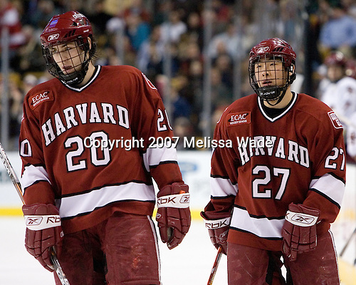 Brian McCafferty (Harvard University - Lexington, MA), Kevin Du (Harvard University - Spruce Grove, AB) - The Boston College Eagles defeated the Harvard University Crimson 3-1 in the first round of the 2007 Beanpot Tournament on Monday, February 5, 2007, at the TD Banknorth Garden in Boston, Massachusetts.  The first Beanpot Tournament was played in December 1952 with the scheduling moved to the first two Mondays of February in its sixth year.  The tournament is played between Boston College, Boston University, Harvard University and Northeastern University with the first round matchups alternating each year.