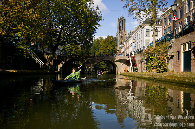 Kayaking through the canals of Utrecht, the Netherlands.