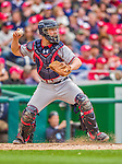 4 April 2014: Atlanta Braves catcher Evan Gattis in action during the Washington Nationals Home Opening Game at Nationals Park in Washington, DC. The Braves edged out the Nationals 2-1 in their first meeting of the 2014 MLB season. Mandatory Credit: Ed Wolfstein Photo *** RAW (NEF) Image File Available ***