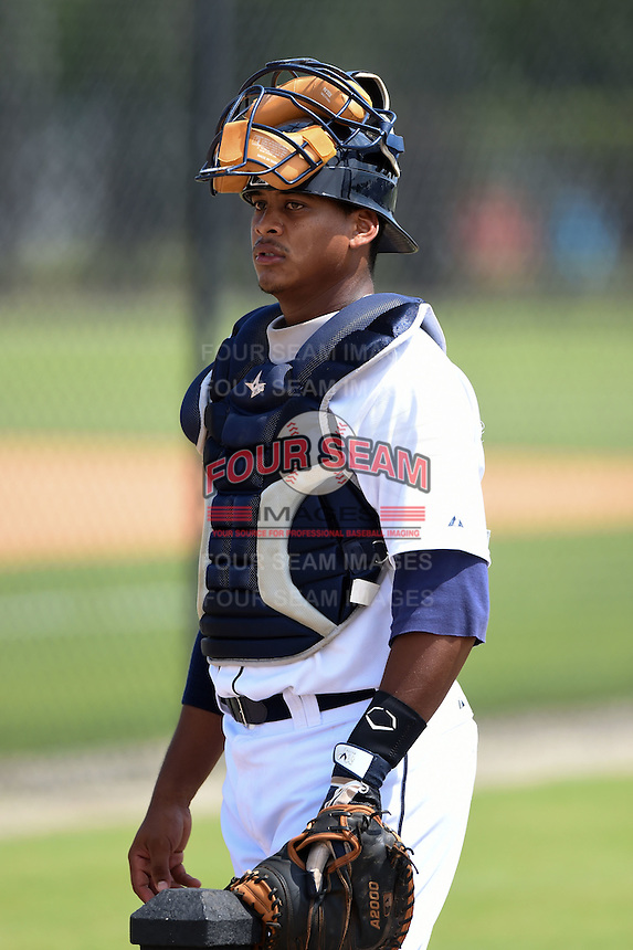 Detroit Tigers catcher Franklin Navarro (73) during a minor league spring training game against the Washington Nationals on March 22, 2015 at Tiger Town in Lakeland, Florida.  (Mike Janes/Four Seam Images)