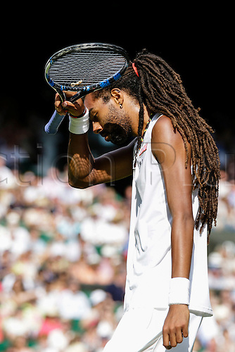 02.07.2015.  Wimbledon, England. The Wimbledon Tennis Championships. Gentlemen's Singles second round match between tenth seed Rafael Nadal (ESP) & Dustin Brown (GER).  Dustin Brown reacts to a missed opportunity