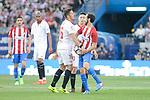 Atletico de Madrid's Juanfran Torres and Sevilla's Stevan Jovetic during La Liga match between Atletico de Madrid and Sevilla CF at Vicente Calderon Stadium in Madrid, Spain. March 19, 2017. (ALTERPHOTOS/BorjaB.Hojas)