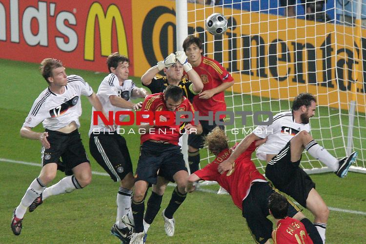 UEFA Euro 2008  Finale<br /> <br /> Vienna - Ernst Happel Match 32<br /> Deutschland ( GER ) - Spanien ( ESP )<br /> <br /> Iker Casillas  ( Spain  / Torh&uuml;ter / Goalkeeper /   Real Madrid #01 ) klaert vor Per Mertesacker ( Germany  / Verteidiger / Defender / Werder Bremen #17)<br /> <br /> Foto &copy; nph (  nordphoto  )<br /> <br /> <br /> <br />  *** Local Caption ***