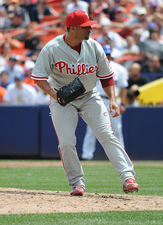 JC ROMERO, of the Philadelphia Phillies  in action against the New York Mets during the Mets game in New York, New York on July 24,  2008... The Mets won the game 3-1