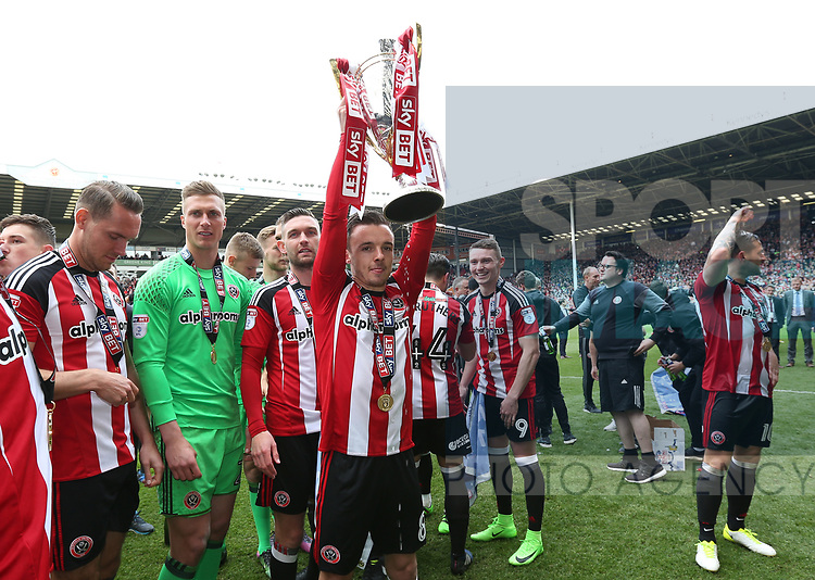Sheffield United's Stefan Scougall celebrates with teh trophy during the League One match at Bramall Lane, Sheffield. Picture date: April 30th, 2017. Pic David Klein/Sportimage