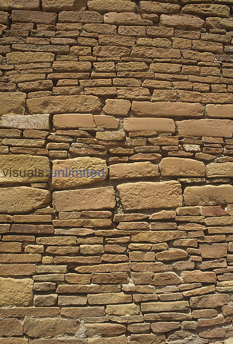 Stonework of Una Vida ruin, Anasazi Culture, Chcao Canyon, New Mexico, USA.
