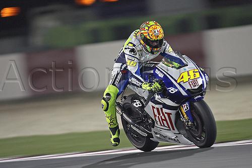 11 04 2010  11 04 2010 Doha  MotoGP Moto Valentino Rossi Fiat Yamaha  Action form the FIM MotoGP World Cup, Qatar.