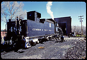 D&amp;RGW #484 K-36 at engine house in Chama.<br /> D&amp;RGW  Chama, NM