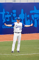19 August 2007: Coach Joshua Ridgway gives a sign during the Japan 4-3 victory over France in the Good Luck Beijing International baseball tournament (olympic test event) at the Wukesong Baseball Field in Beijing, China.