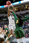 SIOUX FALLS, SD: MARCH 4: Danielle Lawrence #14 from IUPUI spots up for a jumper over Brianna Jones #34 from North Dakota State University on March 4, 2017 during the Summit League Basketball Championship at the Denny Sanford Premier Center in Sioux Falls, SD. (Photo by Dave Eggen/Inertia)