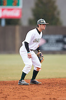 Charlotte 49ers shortstop Luke Gibbs (12) on defense against the Akron Zips at Hayes Stadium on February 22, 2015 in Charlotte, North Carolina.  The Zips defeated the 49ers 5-4.  (Brian Westerholt/Four Seam Images)