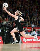 20.09.2012 Silver Ferns Camilla Lees in action during the second netball test match between the Silver Ferns and the Australian Diamonds played at Vector Arena in Auckland. Mandatory Photo Credit ©Michael Bradley.