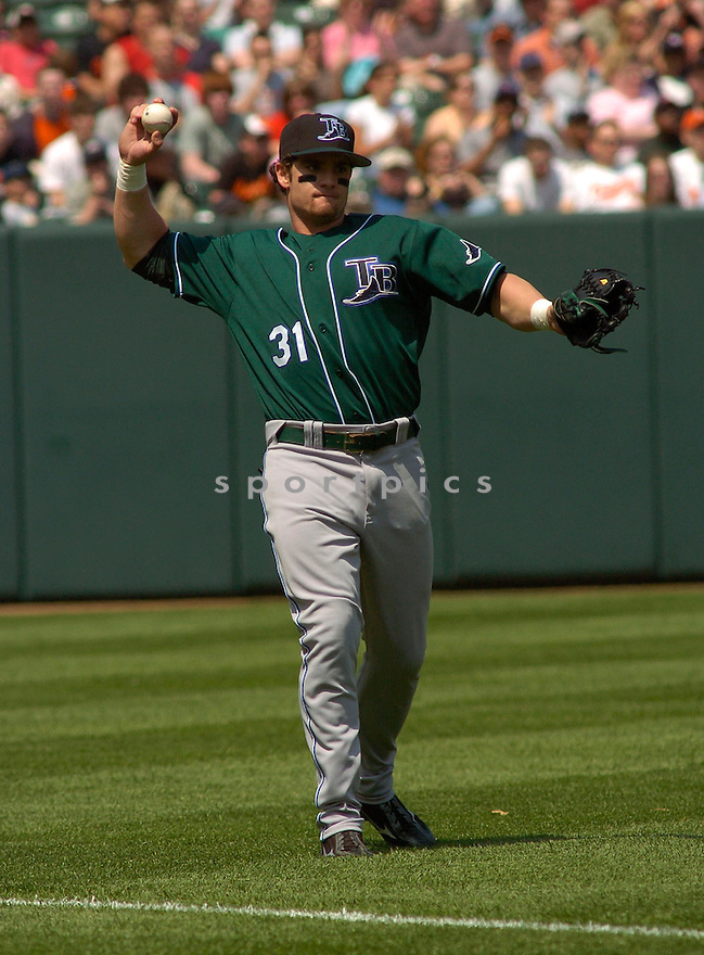 Jonny Gomes in action during the Tampa Bay Devil Rays v. Baltimore Orioles game on May 1, 2005.....Devil Rays lost 4-7.....Chris Bernacchi/Sportpics..