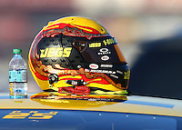 Feb 13, 2016; Pomona, CA, USA; Detailed view of the helmet of NHRA pro stock driver Jeg Coughlin Jr during qualifying for the Winternationals at Auto Club Raceway at Pomona. Mandatory Credit: Mark J. Rebilas-USA TODAY Sports