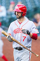 Jeff Kobernus (7) of the Hagerstown Suns steps up to the plate during the game against the Greensboro Grasshoppers at NewBridge Bank Park on May 20, 2014 in Greensboro, North Carolina.  The Grasshoppers defeated the Suns 5-4. (Brian Westerholt/Four Seam Images)