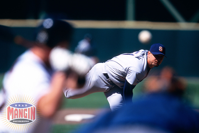 SAN FRANCISCO, CA - Trevor Hoffman of the San Diego Padres pitches during a game against the San Francisco Giants at Candlestick Park in San Francisco, California in 1998. Photo by Brad Mangin