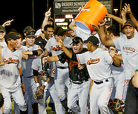 The AZL Giants celebrate the championship win over the Angels at Tempe Diablo Stadium  - 08/31/2008. Manager Dave Machemer is being doused with ice water after the Giants defeated the Angels, 4-2...Photo by:  Bill Mitchell/Four Seam Images