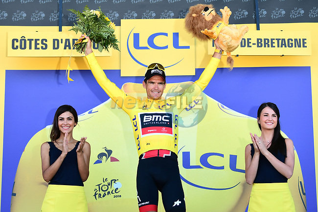 Race leader Greg Van Avermaet (BEL) BMC Racing Team retains the Yellow Jersey at the end of Stage 6 of the 2018 Tour de France running 181km from Brest to Mur-de-Bretagne Guerledan, France. 12th July 2018. <br /> Picture: ASO/Alex Broadway | Cyclefile<br /> All photos usage must carry mandatory copyright credit (© Cyclefile | ASO/Alex Broadway)