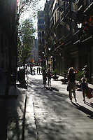 Street scene in the Barrio Gotico in Barcelona, Spain.
