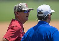 NWA Democrat-Gazette/BEN GOFF @NWABENGOFF<br /> Dave Van Horn, Arkansas head coach, watches Friday, June 8, 2018, during practice for the NCAA Fayetteville Super Regional at Baum Stadium.