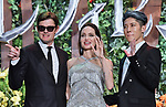 "(L-R) Actor Sam Riley, actress Angelina Jolie and Japanese guitarist Miyavi attend the Japan premiere for ""Maleficent: Mistress of Evil"" at Roppongi Hills Arena in Tokyo, Japan on October 3, 2019. (Photo by AFLO)"