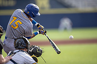 San Jose State Spartans second baseman Nico Malbrough (15) swings the bat against the Michigan Wolverines on March 27, 2019 in Game 1 of the NCAA baseball doubleheader at Ray Fisher Stadium in Ann Arbor, Michigan. Michigan defeated San Jose State 1-0. (Andrew Woolley/Four Seam Images)