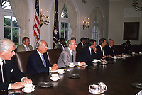 Washington DC., USA, 1989<br /> President George H.W. Bush hosts meeting the congressional leadership in the Cabinet Room of the White House. To discuss the upcoming budget agreement. Credit: Mark Reinstein/MediaPunch