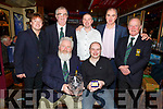 The Old Reserves Golf Society in the Greyhound Bar at their Captains Prize ceremony on Saturday night.  <br /> PJ Murphy (Captain) presenting his Captains prize to Andy Robb. <br /> Standing l to r: Mike Leahy, David Doyle, Padraig and Mark Teahan and John Campbell.