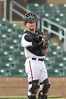 Salt River Rafters catcher Dom Miroglio (55), of the Arizona Diamondbacks organization, during an Arizona Fall League game against the Surprise Saguaros at Salt River Fields at Talking Stick on October 23, 2018 in Scottsdale, Arizona. Salt River defeated Surprise 7-5 . (Zachary Lucy/Four Seam Images)