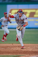 Clearwater Threshers first baseman Alec Bohm (40) calls the pitcher off to get the force out during a Florida State League game against the Dunedin Blue Jays on May 11, 2019 at Jack Russell Memorial Stadium in Clearwater, Florida.  Clearwater defeated Dunedin 9-3.  (Mike Janes/Four Seam Images)