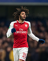 Mohamed Elneny of Arsenal during the Carabao Cup semi final 1st leg match between Chelsea and Arsenal at Stamford Bridge, London, England on 10 January 2018. Photo by Andy Rowland.