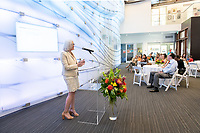 Wendy Sternberg, Vice President for Academic Affairs and Dean of the College.<br /> Friends, family, alumni, students, faculty and staff gather in Johnson Hall classroom 303 for the dedication of The Roger Boesche Classroom on Oct. 21, 2018. The dedication included a ribbon cutting. The gathering then went downstairs to the McKinnon Center for Global Affairs to watch a video of daughter Kelsey Boesche and to listen to remarks.<br /> Longtime Occidental College politics professor Roger Boesche, revered by generations of Oxy students and credited by President Barack Obama '83 for sparking his interest in politics, passed away on May 23, 2017.<br /> (Photo by Marc Campos, Occidental College Photographer)