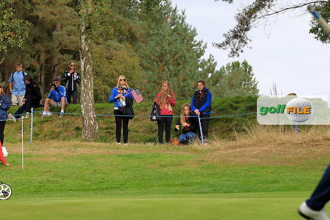 USA supporters at the 17th tee during Day 2 Singles for the Junior Ryder Cup 2014 at Blairgowrie Golf Club on Tuesday 23rd September 2014.<br /> Picture:  Thos Caffrey / www.golffile.ie