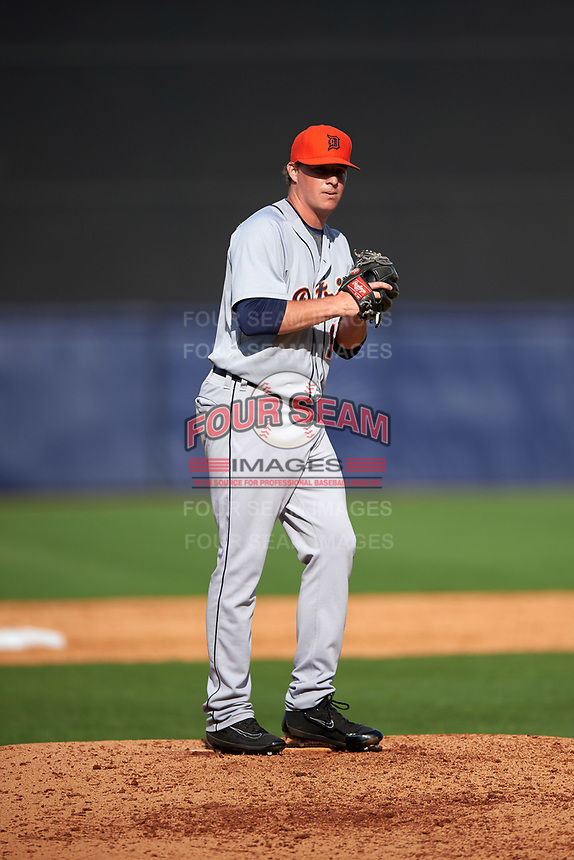 Detroit Tigers pitcher Joe Mantiply (17) gets ready to deliver a pitch during a Spring Training game against the New York Yankees on March 2, 2016 at George M. Steinbrenner Field in Tampa, Florida.  New York defeated Detroit 10-9.  (Mike Janes/Four Seam Images)